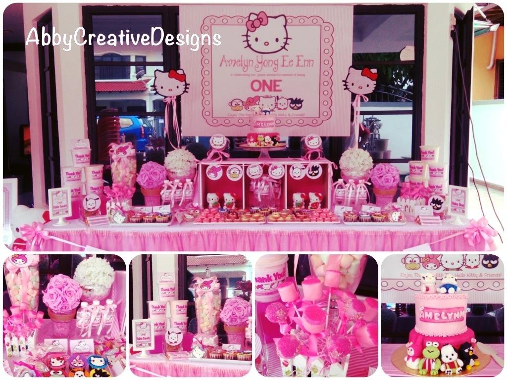 Hello Kitty Theme 1st Birthday Party  Abby Creative Designs by Abby ...
